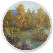 Landscape River And Trees Paintings Round Beach Towel