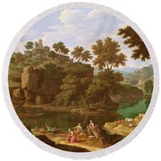 Landscape With A River Oil On Canvas Round Beach Towel