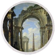 Landscape With Ruins Round Beach Towel