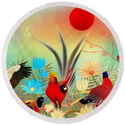 Landscapes With Birds And Red Sun - Limited Edition Of 15 Round Beach Towel by Gabriela Delgado