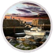 Lanes Cove Gloucester Round Beach Towel by Eileen Patten Oliver