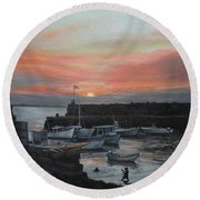 Lanes Cove Sunset Round Beach Towel by Eileen Patten Oliver