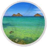 Lanikai Beach Sea Turtle Round Beach Towel by Aloha Art