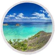 Lanikai Bellows And Waimanalo Beaches Panorama Round Beach Towel by Aloha Art
