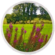 Lanna Fireweeds County Clare Ireland Round Beach Towel