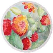 Round Beach Towel featuring the painting Lantana II by Marilyn Zalatan