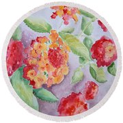 Lantana Round Beach Towel by Marilyn Zalatan