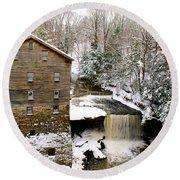 Lanterman's Mill In Winter Round Beach Towel