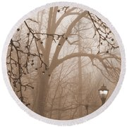 Round Beach Towel featuring the photograph Lantern In The Rain by Miriam Danar