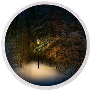 Lantern In The Wood Round Beach Towel