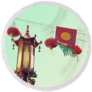 Lanterns Over Chinatown Round Beach Towel by Cindy Garber Iverson