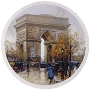 L'arc De Triomphe Paris Round Beach Towel