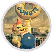 Round Beach Towel featuring the photograph Lard Lad Donuts by Edward Fielding