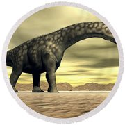 Large Argentinosaurus Dinosaur Face Round Beach Towel