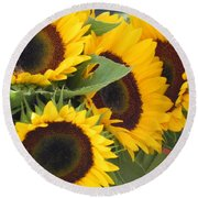 Large Sunflowers Round Beach Towel