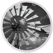 Large Windmill In Black And White Round Beach Towel