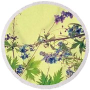 Larkspur Round Beach Towel by Priska Wettstein