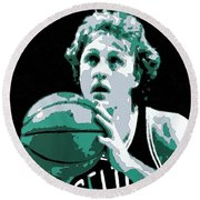 Larry Bird Poster Art Round Beach Towel