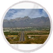 Las Cruces New Mexico Panorama Round Beach Towel by Jack Pumphrey