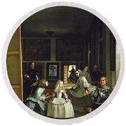 Las Meninas Or The Family Of Philip Iv, C.1656  Round Beach Towel