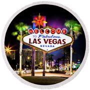 Las Vegas Sign Round Beach Towel