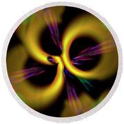 Laser Lights Abstract Round Beach Towel by Carolyn Marshall