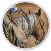 Lariat And Leather Round Beach Towel