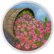Round Beach Towel featuring the painting Last Flowers Of Summer by Sharon Schultz
