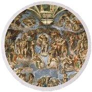 Last Judgement, From The Sistine Chapel, 1538-41 Fresco Round Beach Towel