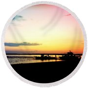 Round Beach Towel featuring the photograph Last Light by Denyse Duhaime