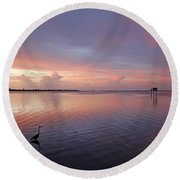 Round Beach Towel featuring the photograph Last Light by HH Photography of Florida