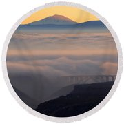 Last Light Over Mt. Adams Round Beach Towel