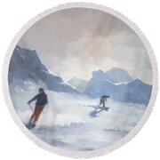 Last Run Les Arcs Round Beach Towel