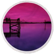 Last Sunset Round Beach Towel