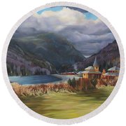 Round Beach Towel featuring the painting Last Train To Crawford Notch Depot by Nancy Griswold
