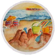Late Afternoon Beach Round Beach Towel