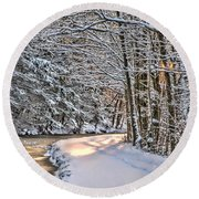 Late Afternoon In The Snow Round Beach Towel