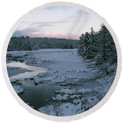 Round Beach Towel featuring the photograph Late Afternoon In Winter by David Porteus