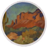 Late Afternoon Light At Superstition Mountain Round Beach Towel