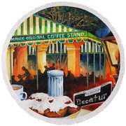 Late At Cafe Du Monde Round Beach Towel