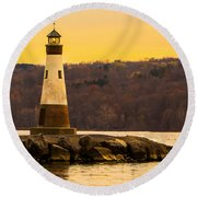 Late Fall Sunset At Myers Park Round Beach Towel