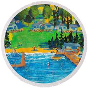 Late In The Season Round Beach Towel