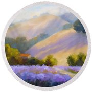 Late June Hills And Lavender Round Beach Towel