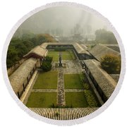 Round Beach Towel featuring the photograph Late Morning Fog At The Great Wall  by Lucinda Walter