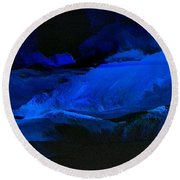 Late Night High Tide Round Beach Towel