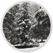 Round Beach Towel featuring the photograph Late Season Snow At The Park by Gary Slawsky