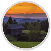 Late Summer Sunset Round Beach Towel
