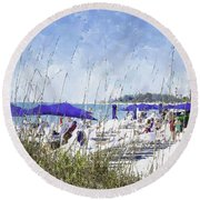 Late Winter Early Spring When Everybody Goes To Florida Round Beach Towel by Susan Molnar