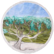 Late Winter Frost Round Beach Towel