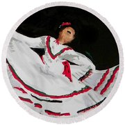 Round Beach Towel featuring the painting Latin Dancer by Marisela Mungia